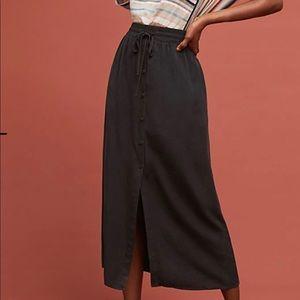 ✨✨Black silk Anthropologie long flowy skirt!